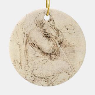 Ornamento De Cerâmica Esboço do ancião e da água por Leonardo da Vinci