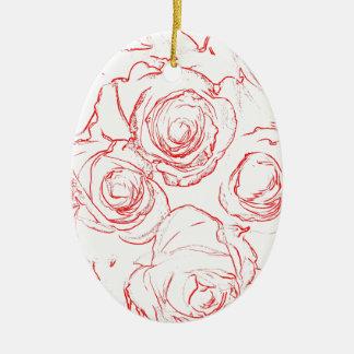 Ornamento De Cerâmica Esboços das rosas vermelhas
