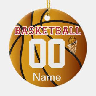 Ornamento De Cerâmica Escuro - o vermelho personaliza o basquetebol com