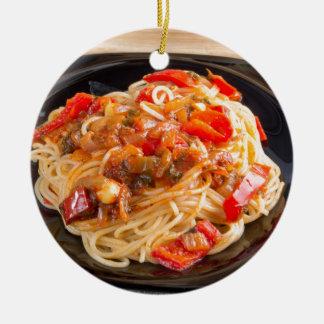 Ornamento De Cerâmica Espaguetes da massa com molho vegetal