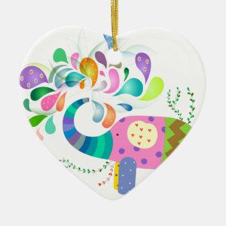 Ornamento De Cerâmica Espirro colorido do elefante