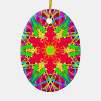 Ornamento De Cerâmica Estrela artística legal teste padrão psicadélico