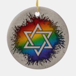 Ornamento De Cerâmica Estrela de David do arco-íris