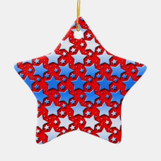 Ornamento De Cerâmica Estrelas brancas azuis no vermelho