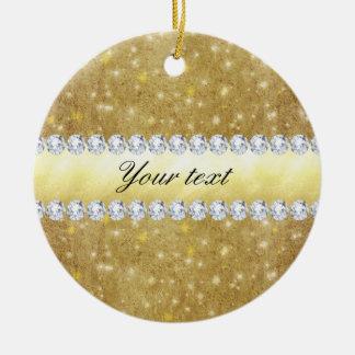 Ornamento De Cerâmica Estrelas Sparkling e diamantes do ouro chique