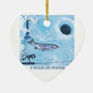 Ornamento De Cerâmica Eu amo a pesca do gelo