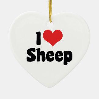 Ornamento De Cerâmica Eu amo carneiros do coração