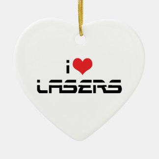 Ornamento De Cerâmica Eu amo lasers do coração - amantes da ciência & da