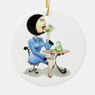 """Ornamento De Cerâmica """"Executiva bebendo chá"""" /"""
