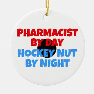 Ornamento De Cerâmica Fanático do hóquei do farmacêutico