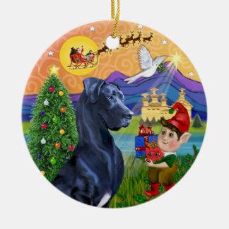 Ornamento De Cerâmica Fantasia do Xmas - great dane azul (orelhas