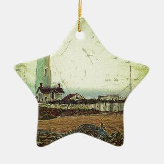 Ornamento De Cerâmica Farol chique litoral da paisagem da pintura a óleo