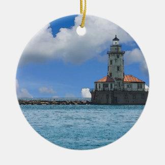 Ornamento De Cerâmica Farol do porto de Chicago Painterly