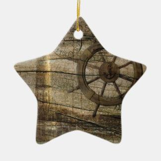 Ornamento De Cerâmica Farol náutico litoral primitivo da roda do leme
