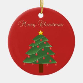 Ornamento De Cerâmica Feliz Natal adorável do ouro do falso, árvore de
