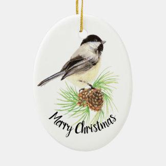 Ornamento De Cerâmica Feliz Natal do cone do pinho do Chickadee da