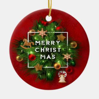 Ornamento De Cerâmica Feriado do Natal - grinalda do Feliz Natal