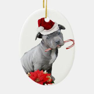 Ornamento De Cerâmica Filhote de cachorro do pitbull do Natal