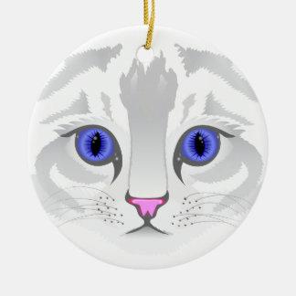 Ornamento De Cerâmica Fim branco bonito da cara do gato de gato malhado