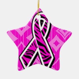 Ornamento De Cerâmica fita cor-de-rosa da consciência da zebra
