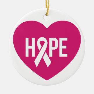 Ornamento De Cerâmica Fita do rosa da consciência do cancro da mama da