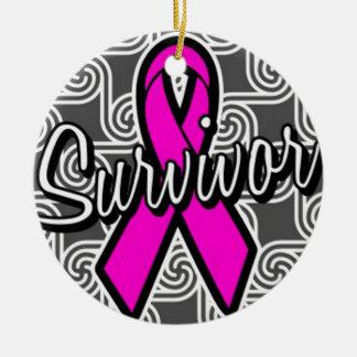 Ornamento De Cerâmica fita do rosa do cancro da mama do sobrevivente