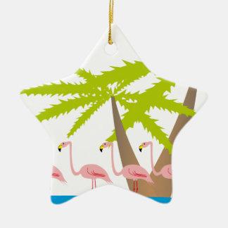 Ornamento De Cerâmica Flamingos