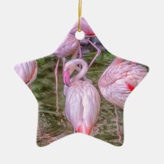 Ornamento De Cerâmica Flamingos cor-de-rosa