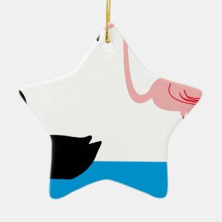 Ornamento De Cerâmica Flamingos e uma cisne preta