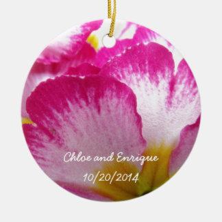 Ornamento De Cerâmica Flor cor-de-rosa casamento personalizado