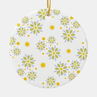 Ornamento De Cerâmica Flores, estrelas e pontos modernos coloridos
