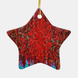 Ornamento De Cerâmica Fogo e gelo vermelhos e azuis