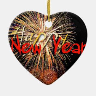 Ornamento De Cerâmica Fogos-de-artifício no feliz ano novo vermelho 2018
