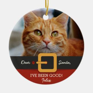 Ornamento De Cerâmica Foto engraçada do gato do papai noel do Natal e