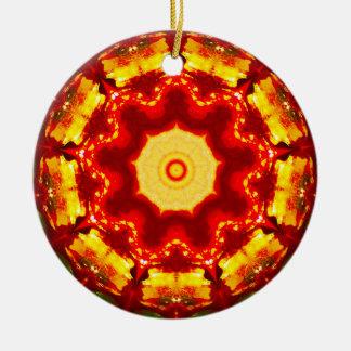 Ornamento De Cerâmica Fractal do fogo do Natal