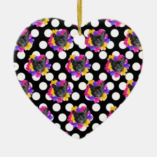 Ornamento De Cerâmica Frenchies e pontos do amor perfeito