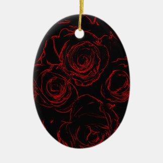 Ornamento De Cerâmica Fundo preto das rosas vermelhas