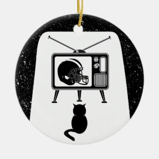Ornamento De Cerâmica Futebol de observação do gato engraçado
