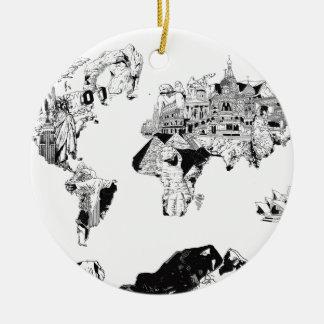 Ornamento De Cerâmica galáxia 3 preto e branco do mapa do mundo