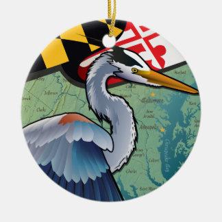 Ornamento De Cerâmica Garça-real litoral do azul de Maryland
