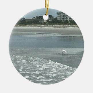 Ornamento De Cerâmica Garça-real pequena na praia