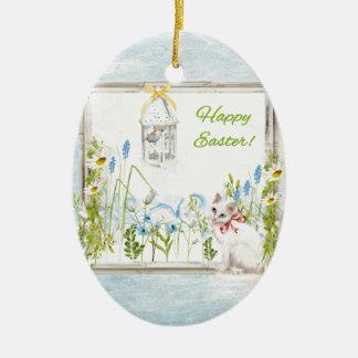 Ornamento De Cerâmica Gato branco no pássaro de observação do jardim na