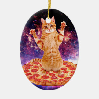 Ornamento De Cerâmica gato da pizza - gato alaranjado - espace o gato