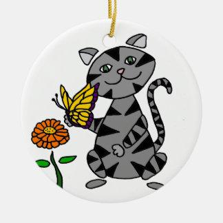 Ornamento De Cerâmica Gato de gato malhado cinzento engraçado que