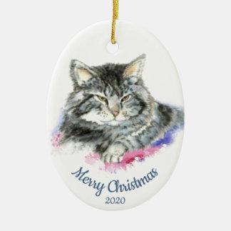 Ornamento De Cerâmica Gato de gato malhado datado feito sob encomenda da