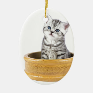 Ornamento De Cerâmica Gato de gato malhado de prata novo que senta-se na