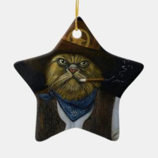 Ornamento De Cerâmica Gato de Texas com uma atitude