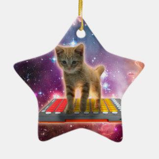 Ornamento De Cerâmica gato do teclado - gato de gato malhado - gatinho