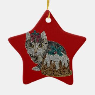 Ornamento De Cerâmica gato malhado cinzento do gatinho bonito que lambe