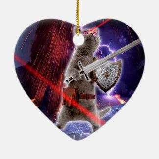 Ornamento De Cerâmica gatos do guerreiro - gato do cavaleiro - laser do